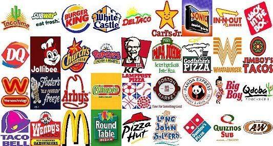 Alcune delle principali catene di fast food degli Stati Uniti d'America