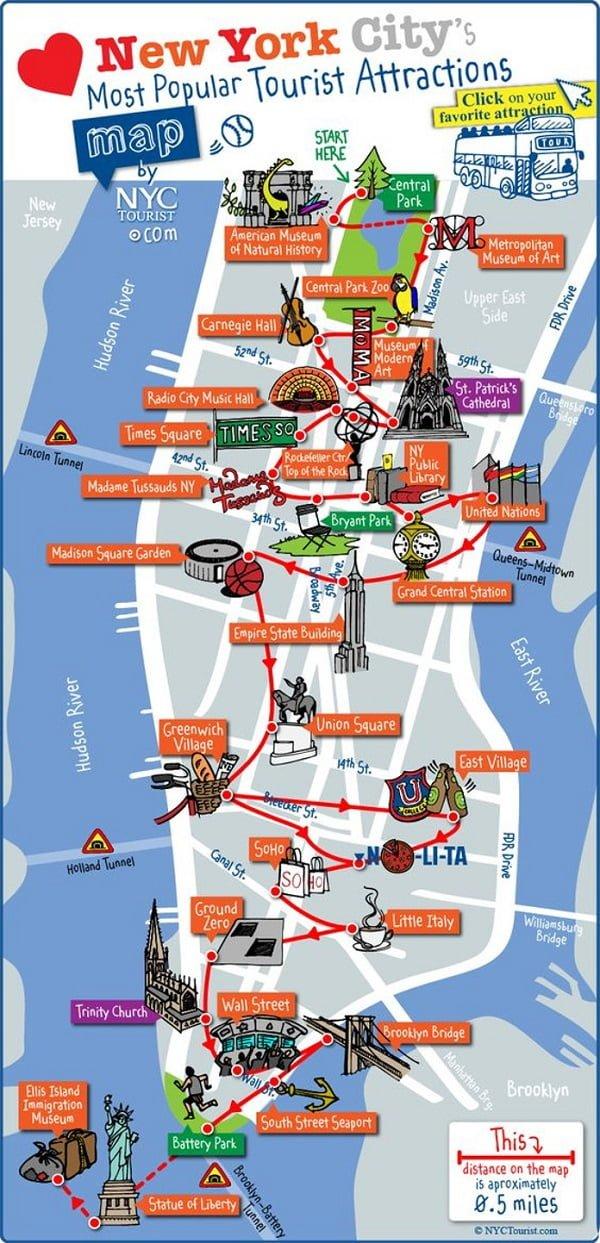 Cartina America New York.Mappa E Itinerario Per Visitare Le Principali Attrazioni Di New York Vacanze In America