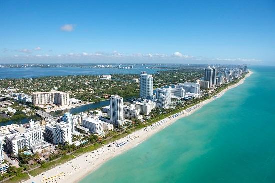 Veduta di Miami dall'aereo